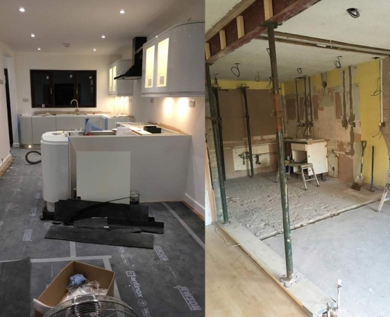 Modern kitchen installation with all electrics and underfloor heating - Aylesbury, Bucks